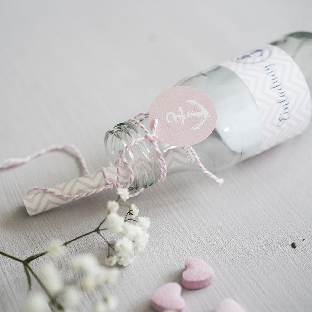Flaschenpost Einladung Rosa Meer